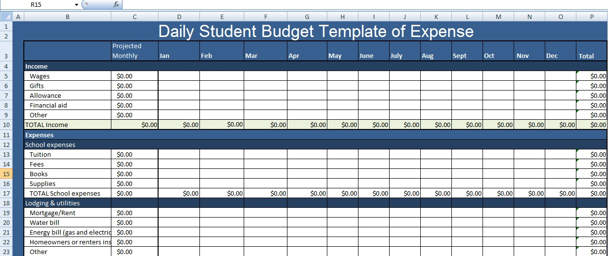 Daily Student Budget Template of Expense XLS - Excel XLS Templates