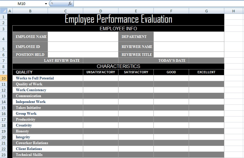 Employee Performance Evaluation Form XLS Free Excel Spreadsheets – Performance Evaluation Forms