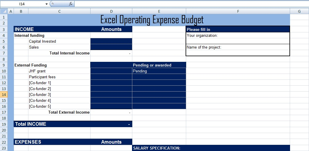Get Excel Operating Expense Budget Template XLS Free Excel – Operating Budget Template
