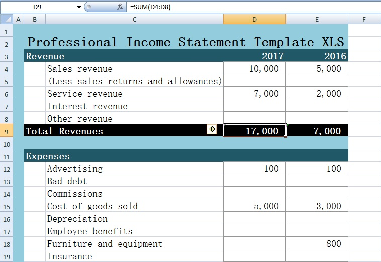 Excel Statement Template