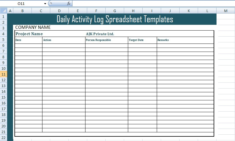 Time Log Template Excel