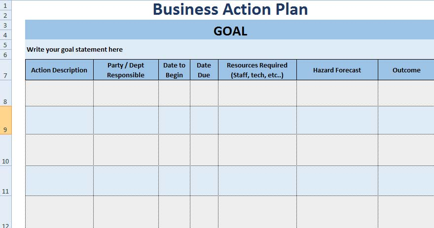 Free Project Action Plan Template Xls  Excel Xls Templates