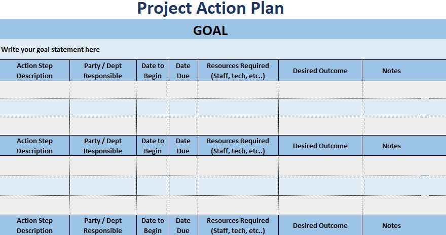 3+ Free Project Action Plan Template Xls - Excel Xls Templates