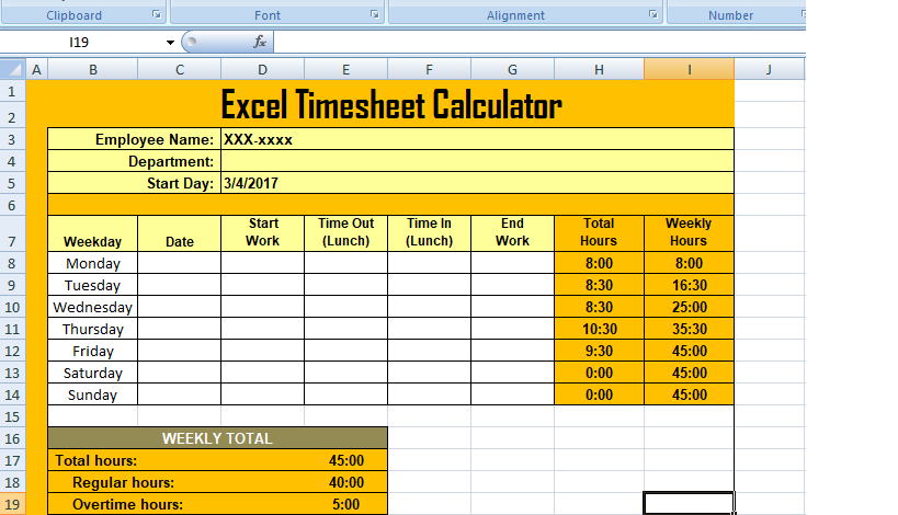 Get Excel Timesheet Calculator Template XLS | XLStemplates