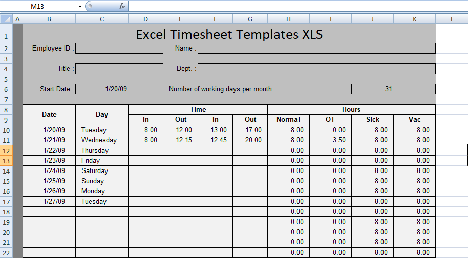 Free Excel Timesheet Templates XLS - Free Excel Spreadsheets and ...