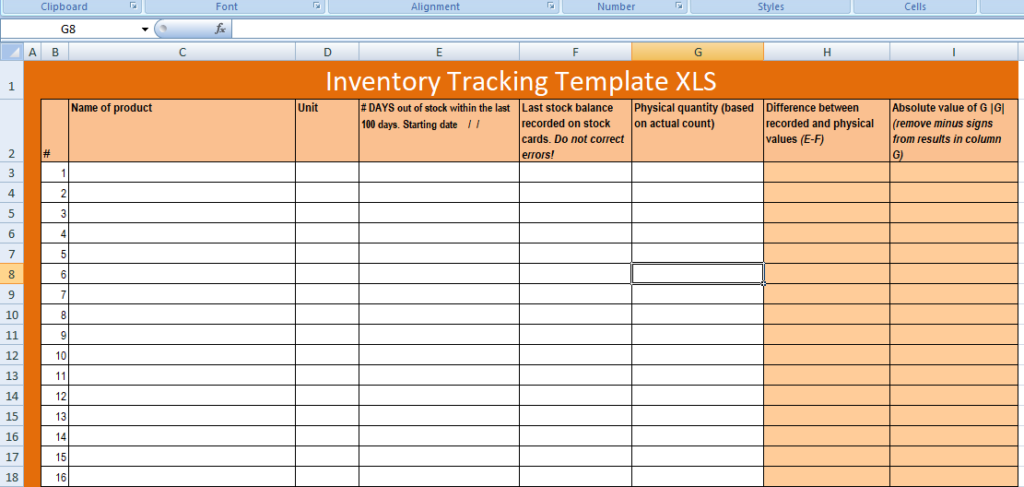 Free Excel Inventory Tracking Template XLS Free Excel