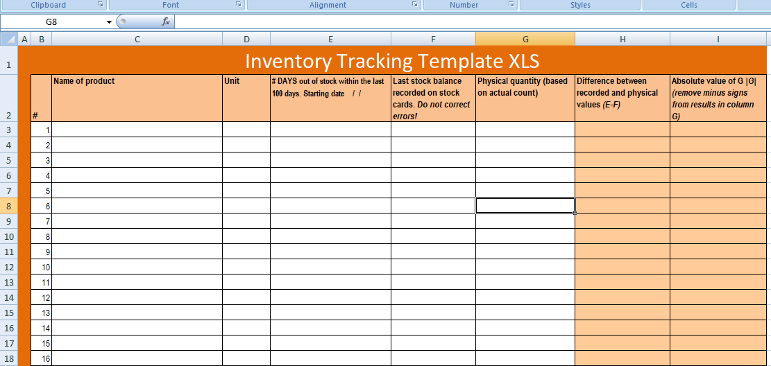 Free Excel Inventory Tracking Template XLS - Free Excel ...