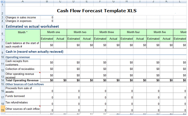 Cash Flow Forecast Template XLS 2017 - Free Excel Spreadsheets and ...