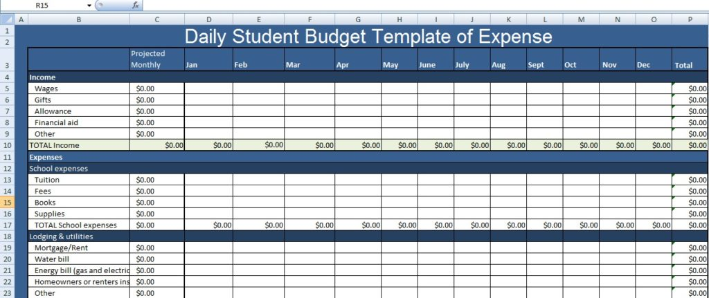Daily Expenses Excel Template
