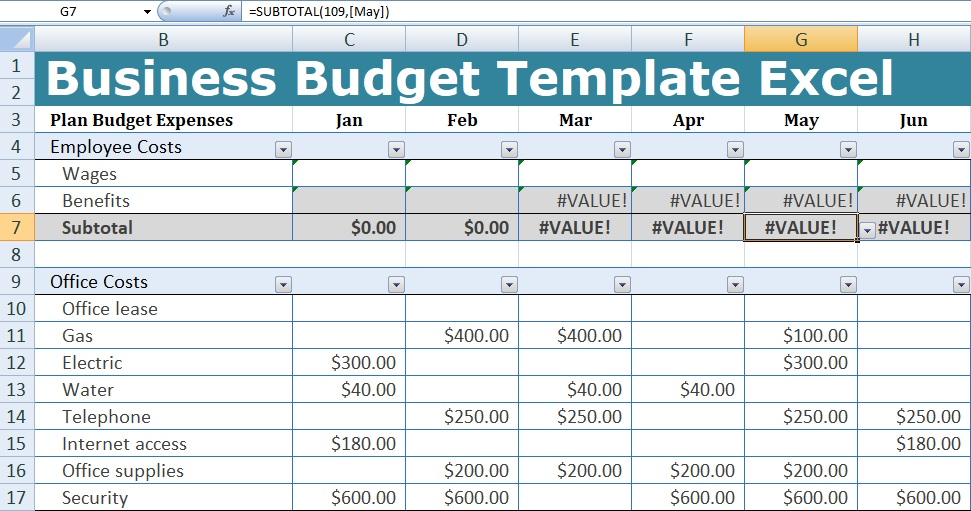 business budget template excel xlstemplates