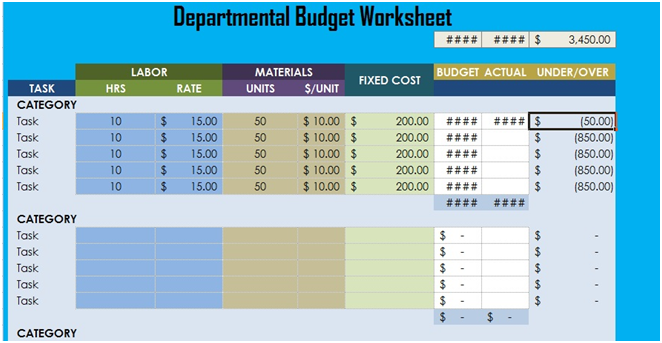 Departmental Budget Worksheet Excel – Budget Worksheet Excel