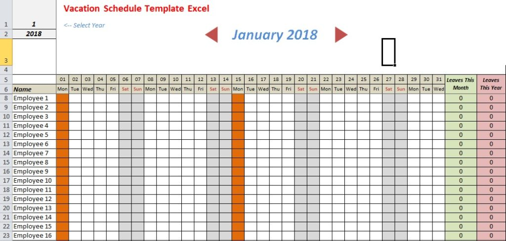 Vacation Schedule Template Excel Download Xlstemplates