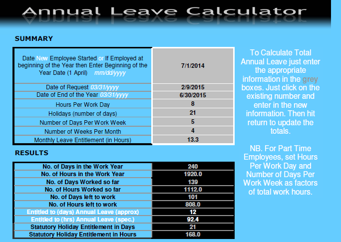 Annual Leave Calculator Excel