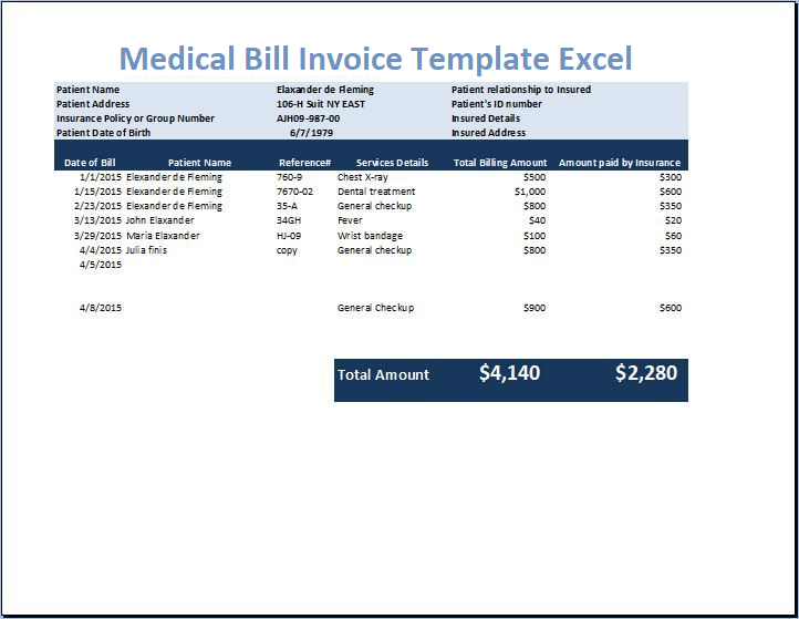 Medical Bill Invoice Template Excel
