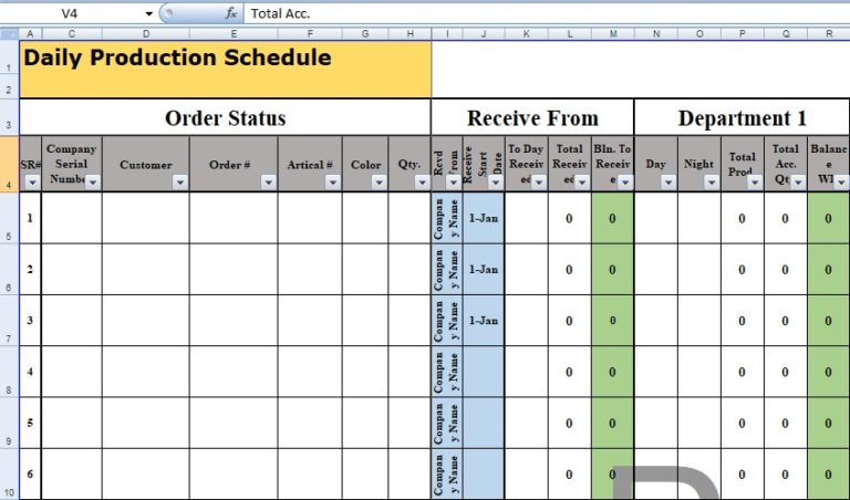 Schedule Management Plan Template Excel