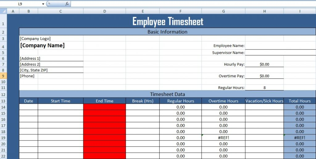 Employee Timesheet Template in excel